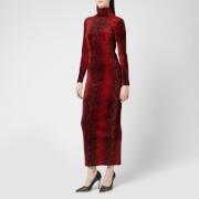 Alexander Wang Women's Turtleneck Dress with Logo at Back - Black/Red - L - Red