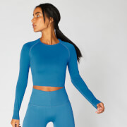 Top Corto Sin Costuras Shape - Azul