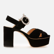 Charlotte Olympia Women's Velvet Heeled Platform Sandals - Black - UK 5