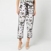 Diane von Furstenberg Women's Lulu Trousers - Caribean Floral Lavender Fog - M - Multi