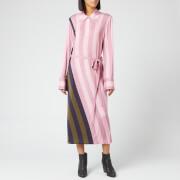 JW Anderson Women's Warped Stripe Print Polo Dress - Light Pink - S - Pink