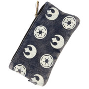 Loungefly Star Wars Rebel Imperial Symbols Denim Pouch