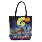 Loungefly Nightmare Before Christmas Halloween Town/Christmas Town 2 Sided Tote Bag