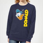 Disney Donald Duck Face Women's Sweatshirt - Navy