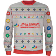 Zavvi Exclusive Nintendo SNES Christmas Knitted Jumper - Grey