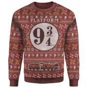 Harry Potter Platform 9 3/4 Christmas Knitted Jumper - Burgundy