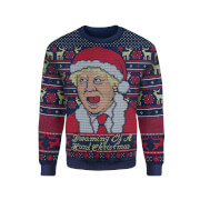 IWOOT Exclusive Boris Johnson Knitted Christmas Jumper - Navy