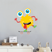 Yellow Monster On Skateboard Wall Art Sticker