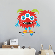 Red Monster On Skateboard Wall Art Sticker