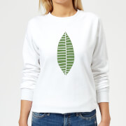 Plain Green Skinny Leaf Women's Sweatshirt - White