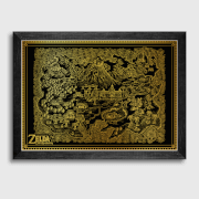Nintendo Zelda Links Awakening Gold Foil Screenprint A2 - Exclusive