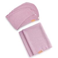 Aquis Lisse Luxe Hair Turban and Hair Towel - Desert Rose Bundle (Worth £65)