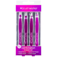 brushworks HD Combination Tweezer Set - Purple