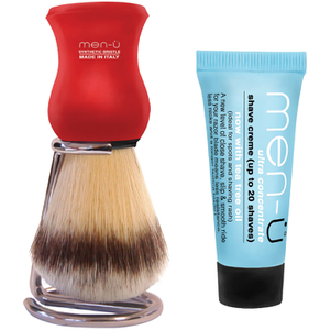 Men-ü DB Premier Shave Brush avec Support en Chrome- Rouge