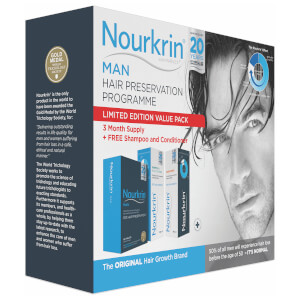 Nourkrin Man Value Pack - Contains 180 Tablets Plus FREE Shampoo and Conditioner (2x150ml)
