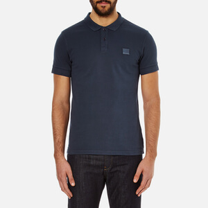 BOSS Orange Men's Pascha Slim Block Branded Polo Shirt - Navy