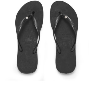 Havaianas Women's Slim Swarovski Crystal Glamour Flip Flops - Black