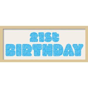 "GB Cream Mount 21st Birthday Fatty Font - Framed Mount - 12"""" x 30"""