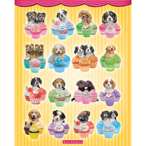 Keith Kimberlin Puppies Cupcakes - Mini Poster - 40 x 50cm
