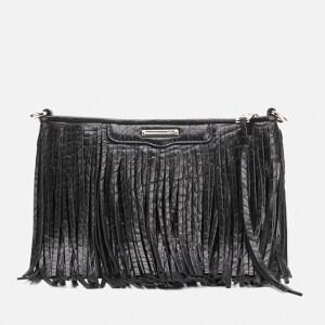 Rebecca Minkoff Finn Fringe Leather Clutch Bag - Black