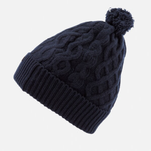 721ffc43d93 Barbour Cable Knit Beanie Hat - Navy  Image 3