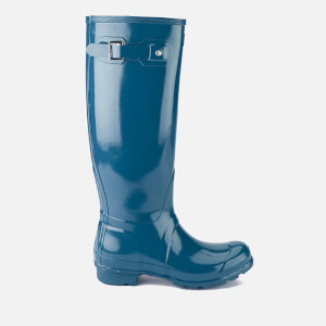 Hunter Women's Original Back Adjustable Gloss Wellies - Dusty Petrol