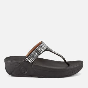 FitFlop Women's Aztek Chada Suede Toe Post Sandals - Black/Silver Stones