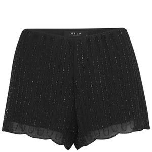 VILA Women's Laura Sequin Shorts - Black
