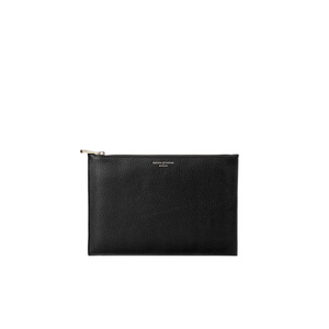 Aspinal of London Essential Small Flat Pouch - Black Pebble