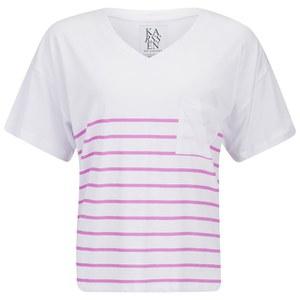 Zoe Karssen Women's V Neck Stripe T-Shirt - White/Pink