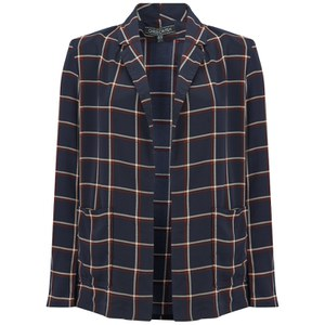 Girls On Film Women's Large Check Blazer - Navy