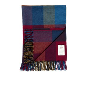 Avoca Lambswool Harriett Throw (142 x 100cm) - Blue/Mustard/Red