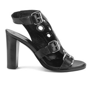 McQ Alexander McQueen Women's Nico Eylet Leather Heeled Sandals - Black