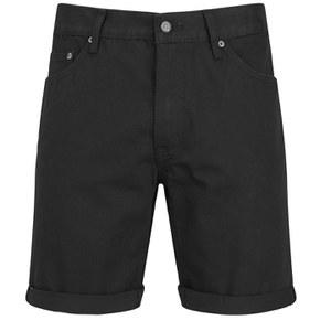 Cheap Monday Men's 'High Cut' Denim Shorts with Fold-Up - Black