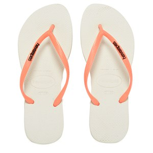 Havaianas Women's Slim Logo Flip Flops - White/Coral