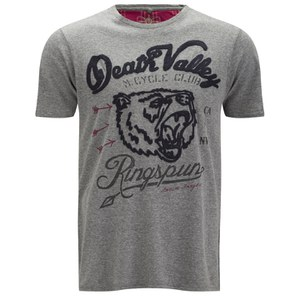 Ringspun Men's Clubber Death Valley Printed T-Shirt - Grey Marl
