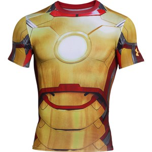 Under Armour Men's Iron Man 2 Compression Short Sleeved T-Shirt - Gold/Red/Silver