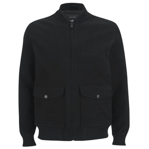 Knutsford Men's 'Made in England' Moleskin Zip-Through Bomber Jacket - Black Moleskin