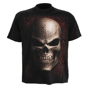 Spiral Men's GOTH SKULL T-Shirt - Black