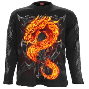 Spiral Men's FIRE DRAGON Long Sleeve T-Shirt - Black
