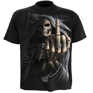 Spiral Men's BONE FINGER T-Shirt - Black