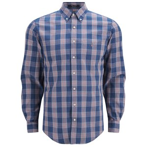 GANT Men's Poplin Check Shirt - Indigo