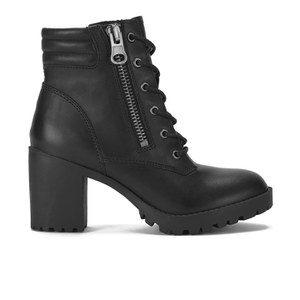 Steve Madden Women's Noodless Zip and Lace Up Leather Ankle Boots - Black Leather