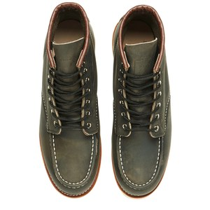 Red Wing Men's 6 Inch Moc Toe Leather Lace Up Boots - Charcoal Rough and Tough: Image 2