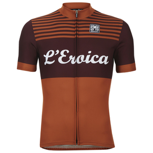 Santini L'Eroica Gaiole 2015 Event Series Polyester Print Short Sleeve Jersey - Dark Red