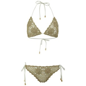 South Beach Women's Crochet Triangle Bikini - Taupe