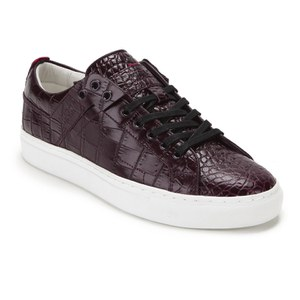 HUGO Women's Corynna Croc Leather Mid Low Trainers Dark Red: Image 4