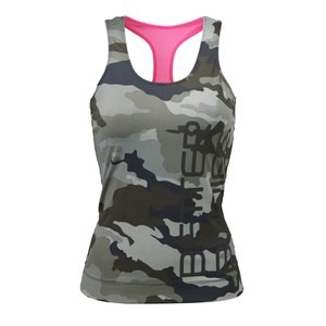 Better Bodies Women's T-Back Tank Top - Green Camoprint