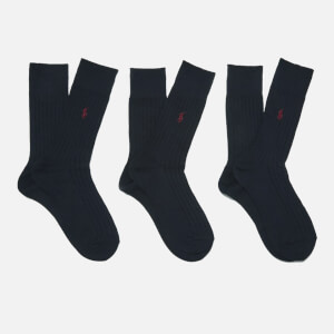 Polo Ralph Lauren Men's Egyptian Cotton Ribbed Socks (3 Pack) - Navy