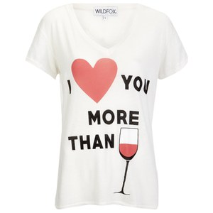 Wildfox Women's I Love You Easy V Neck T-Shirt - Vintage Lace